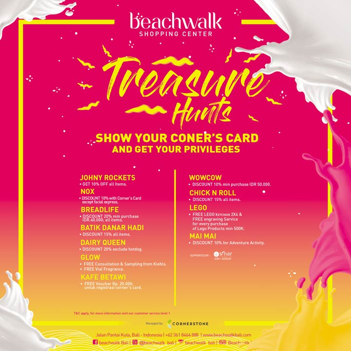 Complete Vouchers Coupons Promotions Information Beachwalk X20 Treasure Kab Badung