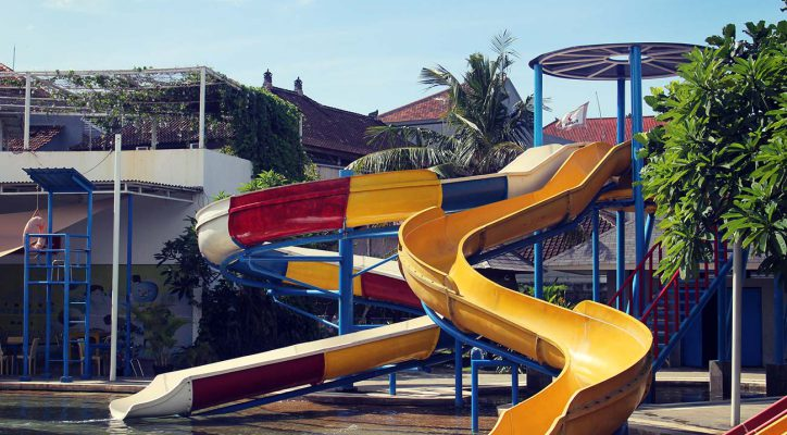 Kids Rides Circus Waterpark Bali Mini Spiral Slider Water Park