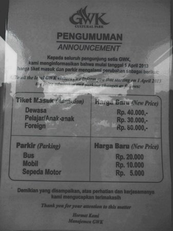 Notice Ticket Entrance Fees Picture Garuda Wisnu Kencana Cultural Park