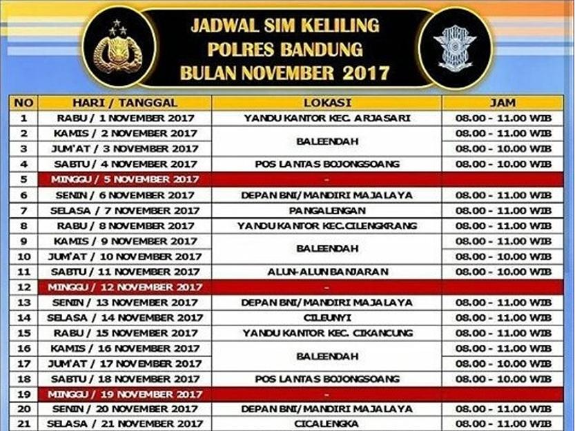 Jadwal Sim Keliling Polres Bandung Bulan November 2017 Seputar Monumen
