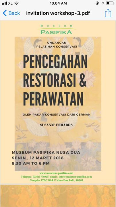 Konservasi Prefentif Oleh Sussane Erhards Museum Pasifika Kab Badung