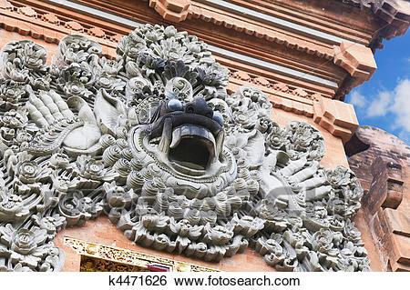 Stock Images Barong Carving Pura Petitenget Bali Indonesia Image Intricate