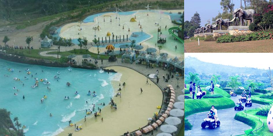 Wisata Pantai Buatan Aneka Wahana Permainan Kampung Gajah Tempat Bandung