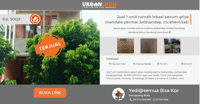 Rumah Dijual 1 Unit Griya Mandala Permai Jatihandap Cicahem Museum