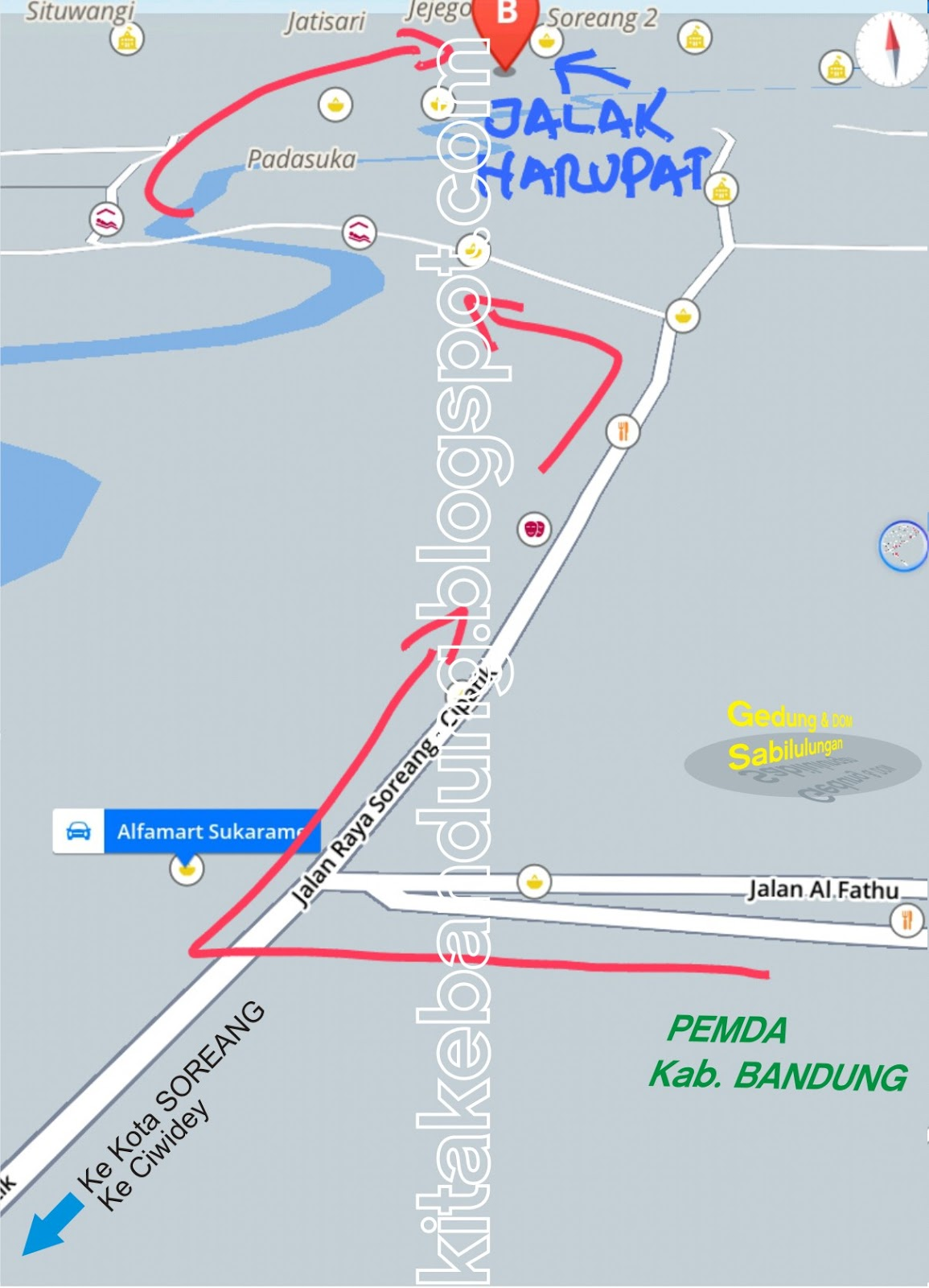 Peta Rute Jalan Bandung Stadion Jalak Harupat Soreang Terminal Leuwi