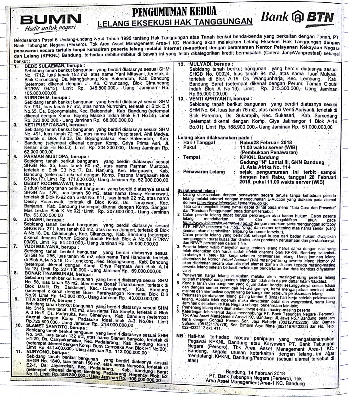 Lelang Direktorat Jenderal Kekayaan Negara Kementerian Keuangan Btn Shm 343