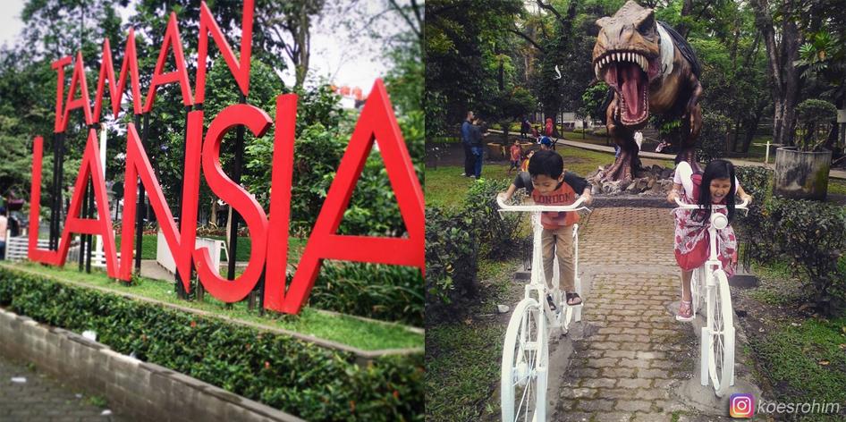 Patung Replika Dinosaurus Menghuni Taman Lansia Wisatabdg Bandung Kab