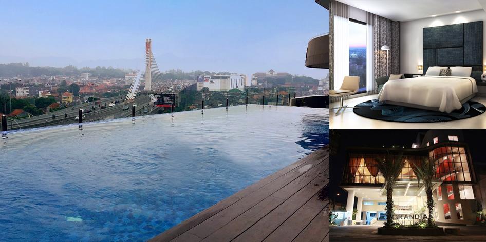 Kolam Renang View Jembatan Layang Pasupati Grandia Hotel Bandung Taman