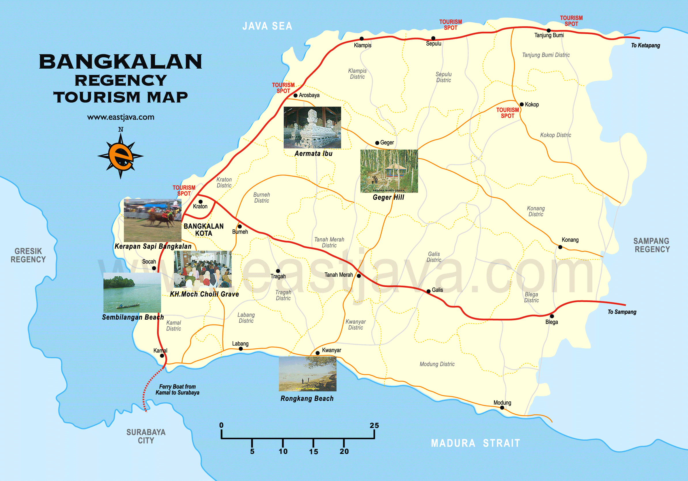 Bangkaan Madura Map Peta Kabupaten Bangkalan Mercusuar Kab