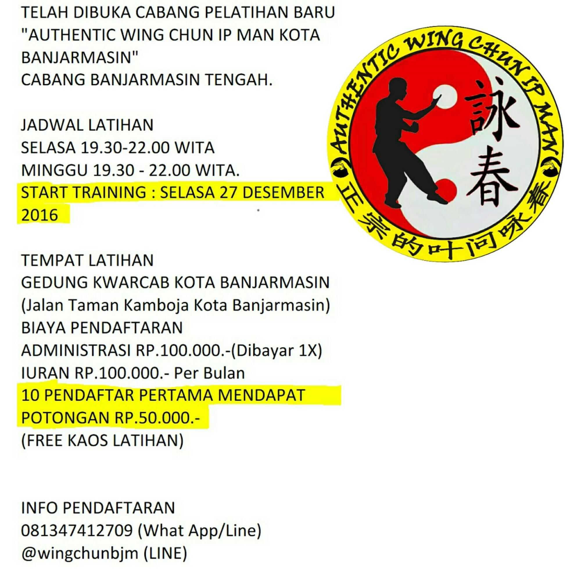 Authentic Wing Chun Ip Man Indonesia Penerimaan Anggota Cabang Banjarmasin
