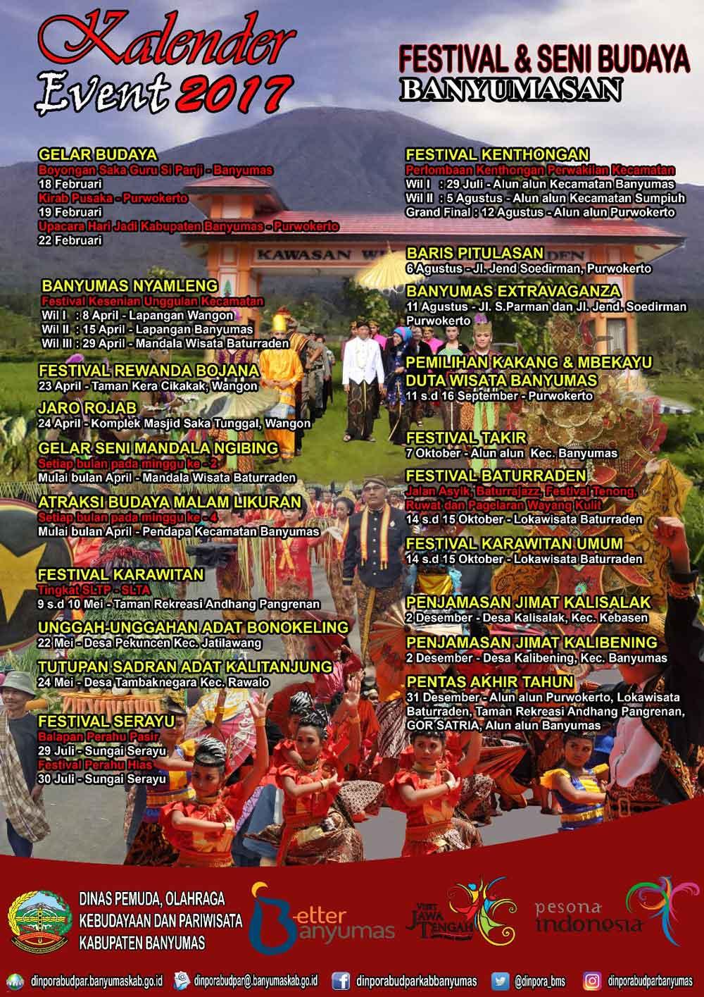 Kalender Event Banyumas 2017 Purwokerto Guidance Mandala Wisata Baturraden Kab