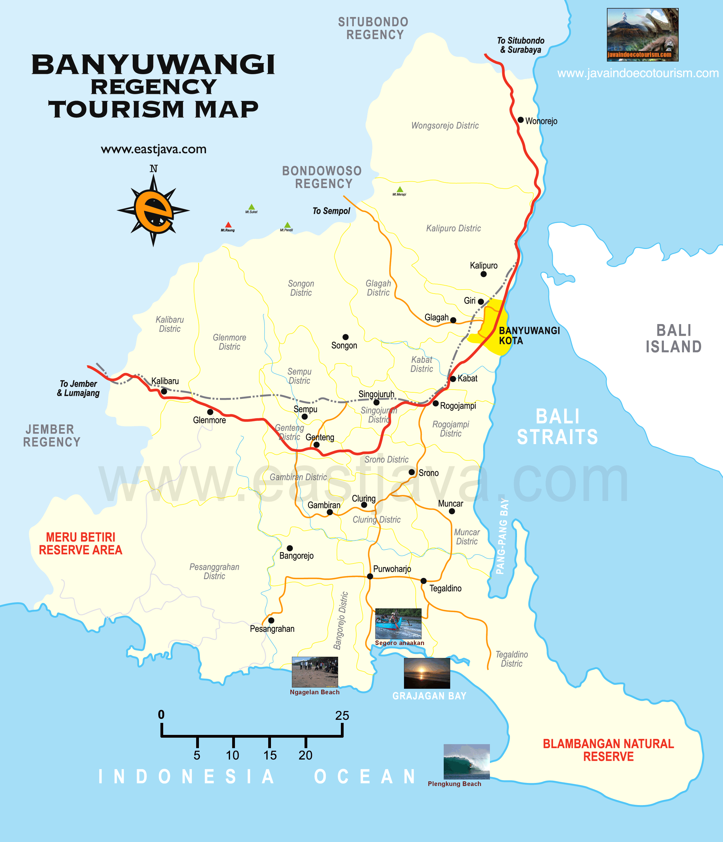 Peta Wisata Banyuwangi Jawa Timur Dapatkan Lengkap Tourism Map Pantai
