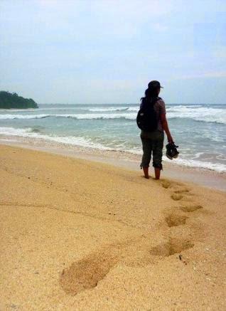 Pantai Parang Ireng Tiga Warna Banyuwangi Bagus Berjalan Hamparan Pasir