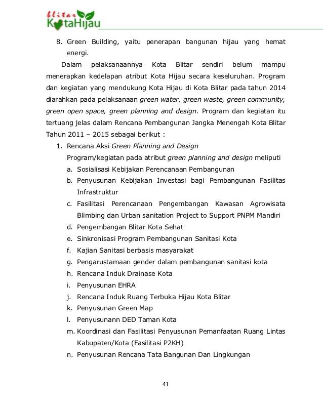 Rencana Aksi Kota Hijau Rakh Blitar 40 42 Taman Kab