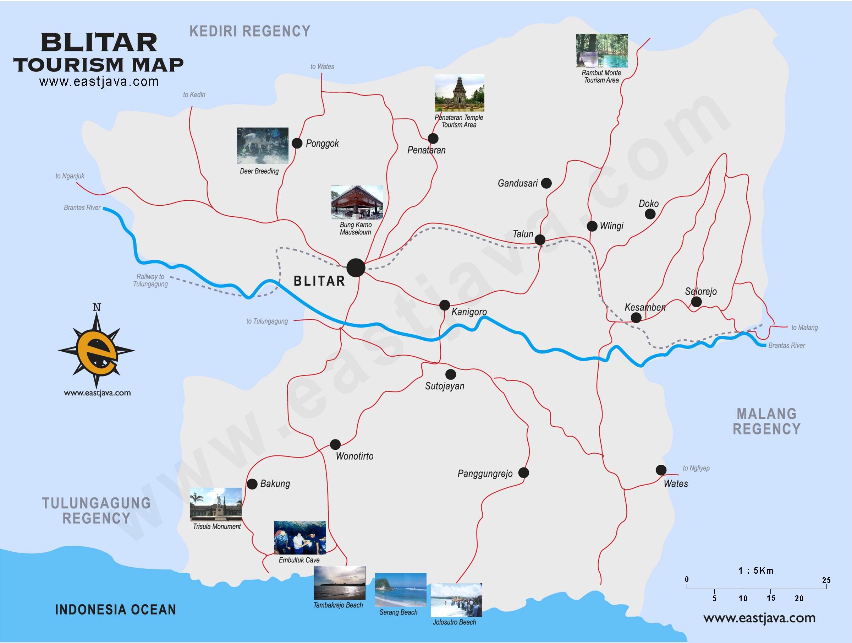 Peta Blitar Kabupaten Kota Wisata Google Map Water Park Sumber