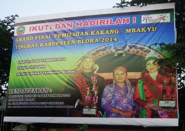 Pemilihan Kakang Mbakyu Duta Wisata Kabupaten Blora 2014 Segera Baliho