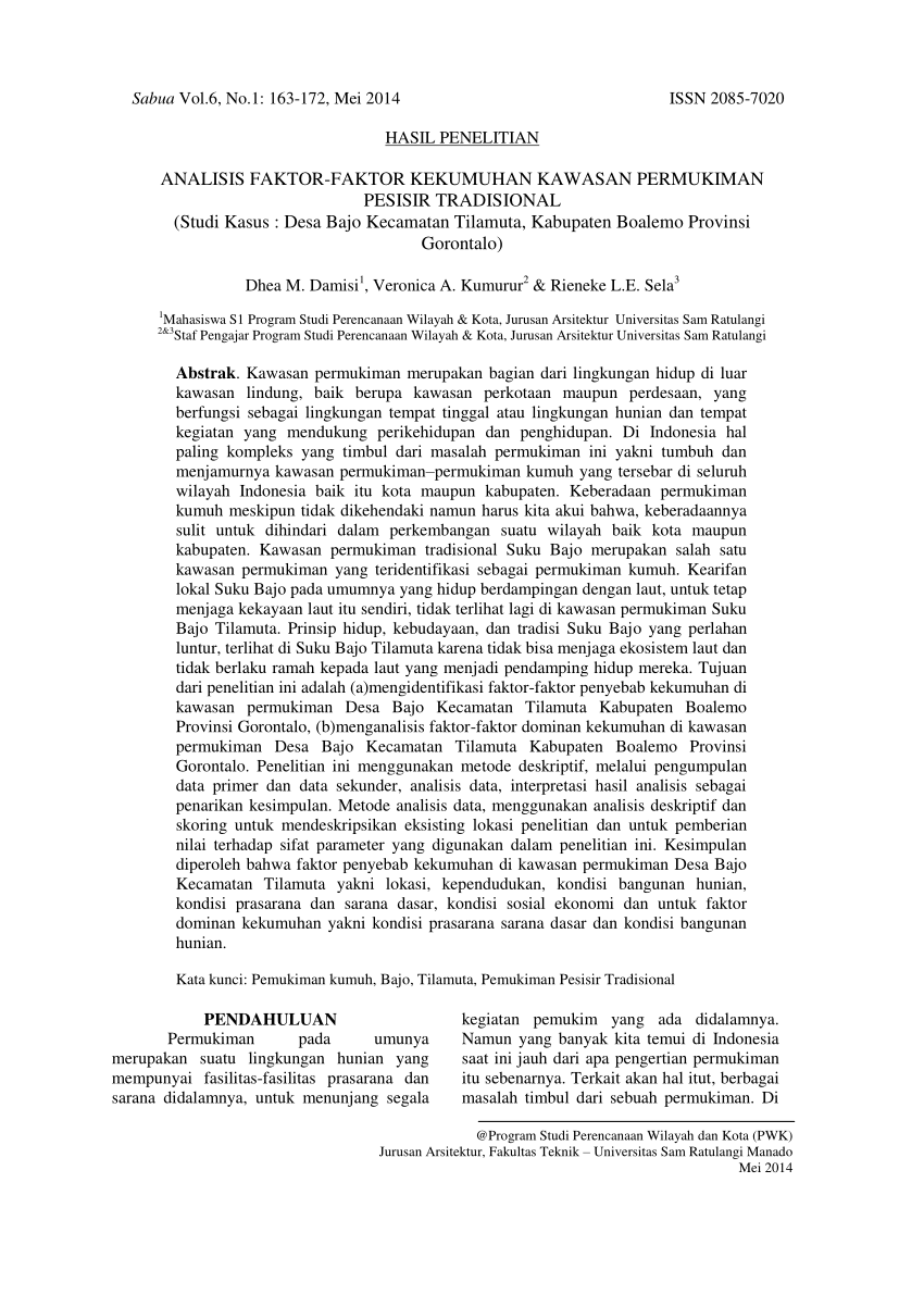 Pdf Analisis Faktor Kekumuhan Kawasan Permukiman Pesisir Tradisional Studi Kasus