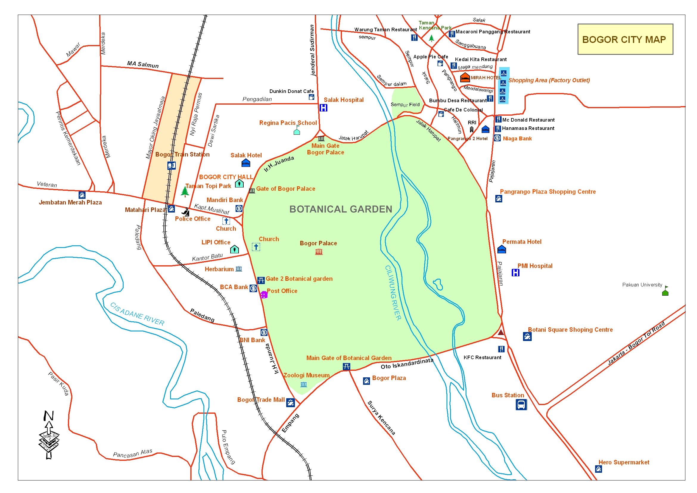 Central Bogor City Map Palace Mappery Kebun Raya Kab