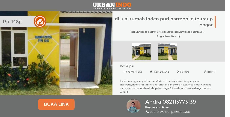 Rumah Dijual Inden Puri Harmoni Citeureup Bogor Kebun Wisata Pasirmukti
