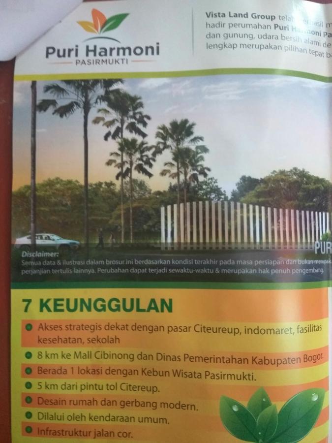 Rumah Dijual Subsidi Citereup Bogor Kebun Wisata Pasirmukti Kab