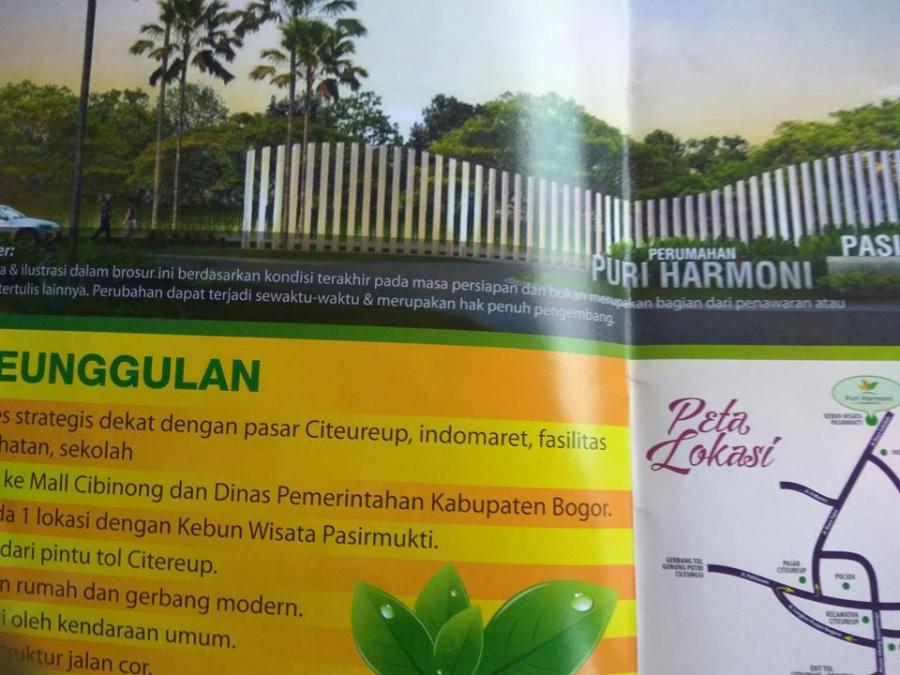 Rumah Dijual Subsidi Puri Harmoni Pasir Mukti Citereup Cibinong Bogor