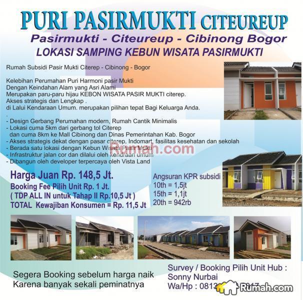 Rumah Subsidi Pasir Mukti Citerep Cibinong Bogor 77964566 Kebun Wisata