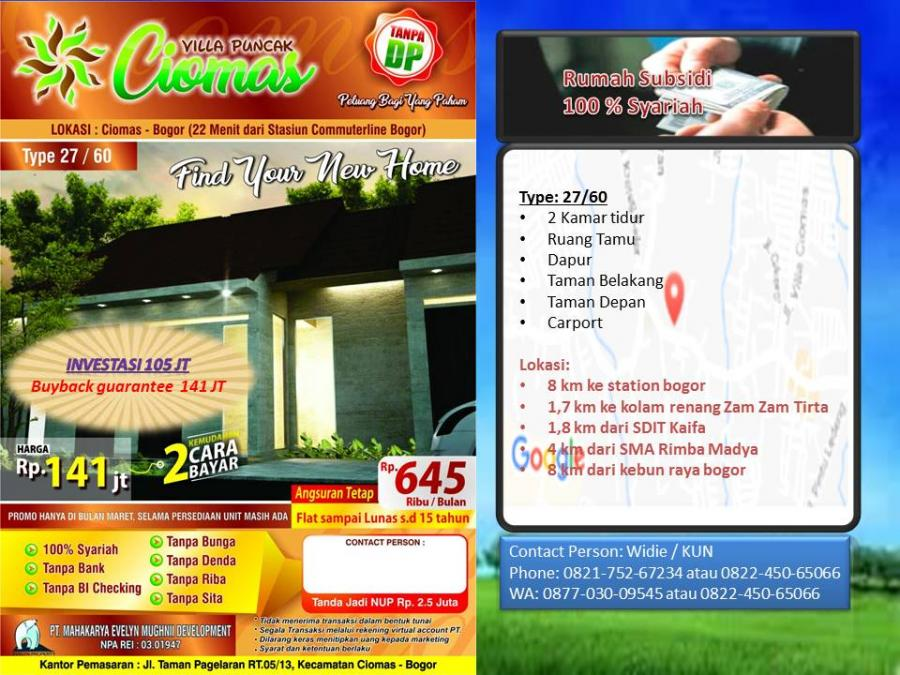 Rumah Dijual Super Murah Villa Puncak Ciomas Bogor Brosur2 Jpg