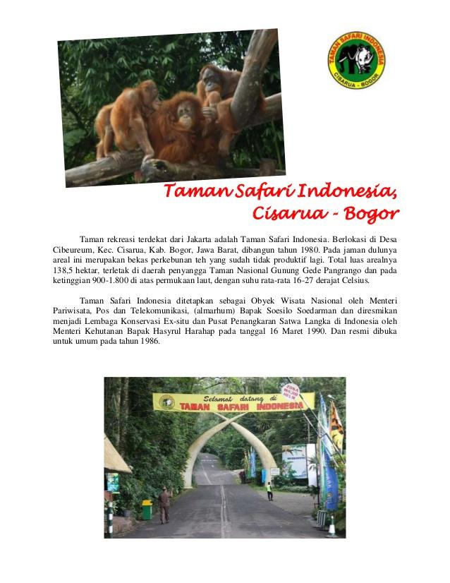 Panduan Tour Taman Safari Indonesia Cisarua Bogor Rekreasi Terdekat Jakarta