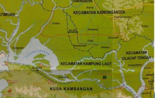 Mengenal Desa Ujung Alang Perairan Kampung Laut Cilacap Peta Kab