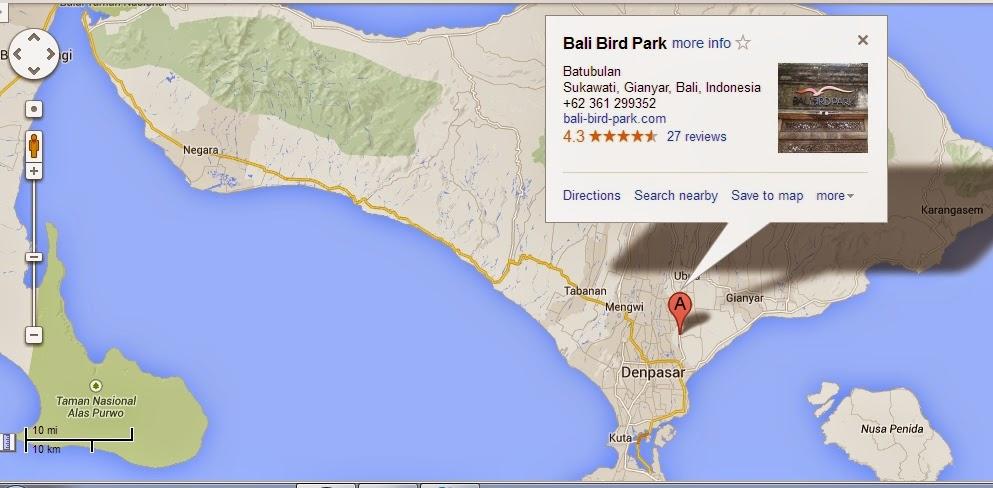 Tempat Wisata Bali Bird Park Map Kebun Binatang Kab Gianyar
