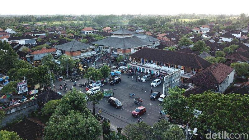Foto Drone Geliat Pasar Sukawati Udara Terletak Kabupaten Gianyar Bali