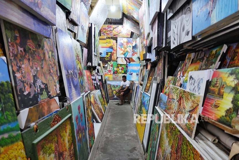 Pasar Seni Guwang Bali Republika Online Pedagang Lukisan Sukawati Kabupaten