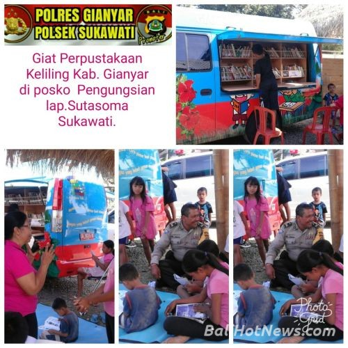 Bhabin Batuan Kaler Antisipasi Giat Perpustakaan Keliling Posko Pengungsian Bali