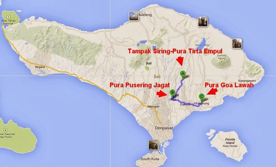 Tempat Wisata Bali Pura Tirta Empul Tampak Siring Village Map