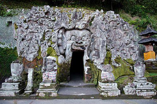 Kabupaten Gianyar Bali Indonesia Pura Goa Gajah Objek Wisata Taman