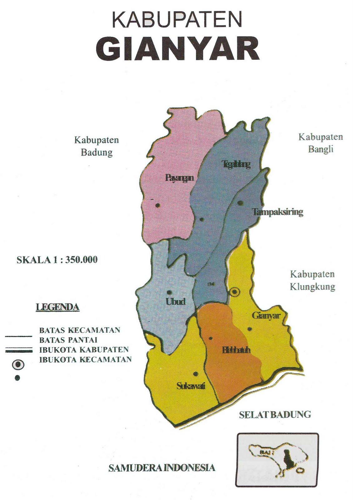 Sekilas Tentang Kabupaten Gianyar Bali Peta Taman Nusa Kab