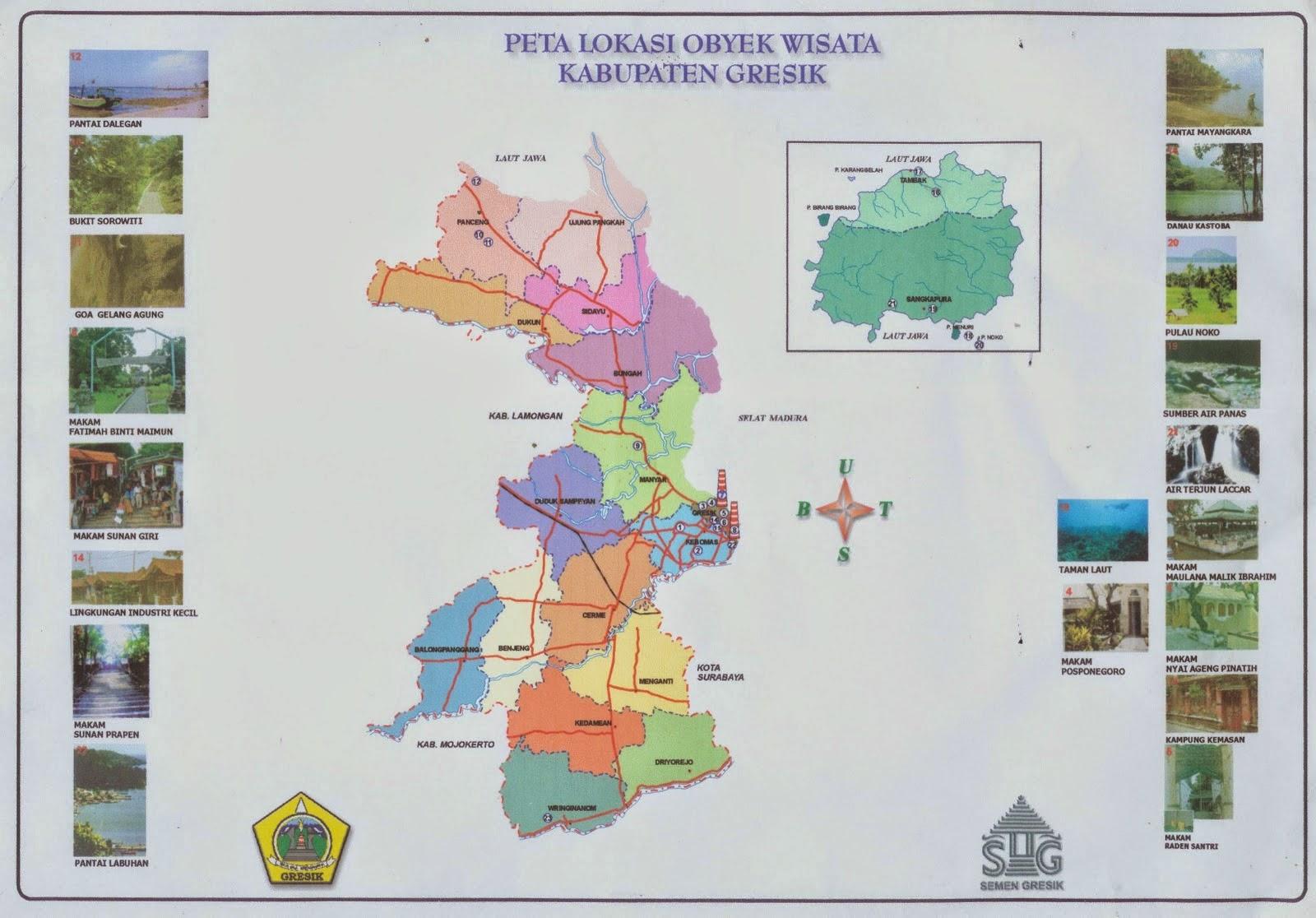 Peta Lengkap Indonesia Lokasi Obyek Wisata Kabupaten Gresik Kampung Kemasan