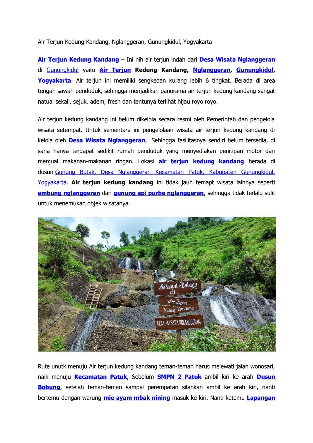 Air Terjun Kedung Kandang Nglanggeran Gunungkidul Yogyakarta Paket Wisata Tour