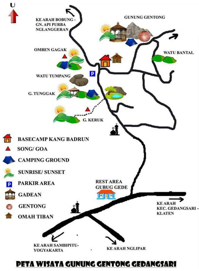 Kedai Susu 01 Wonosari Peta Wisata Gunung Gentong Gedangsari Desa