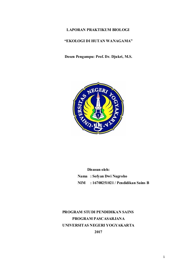 7 Laporan Praktikum Biologi Analisis Vegetasi Hutan Wanagama Ekologi Dosen