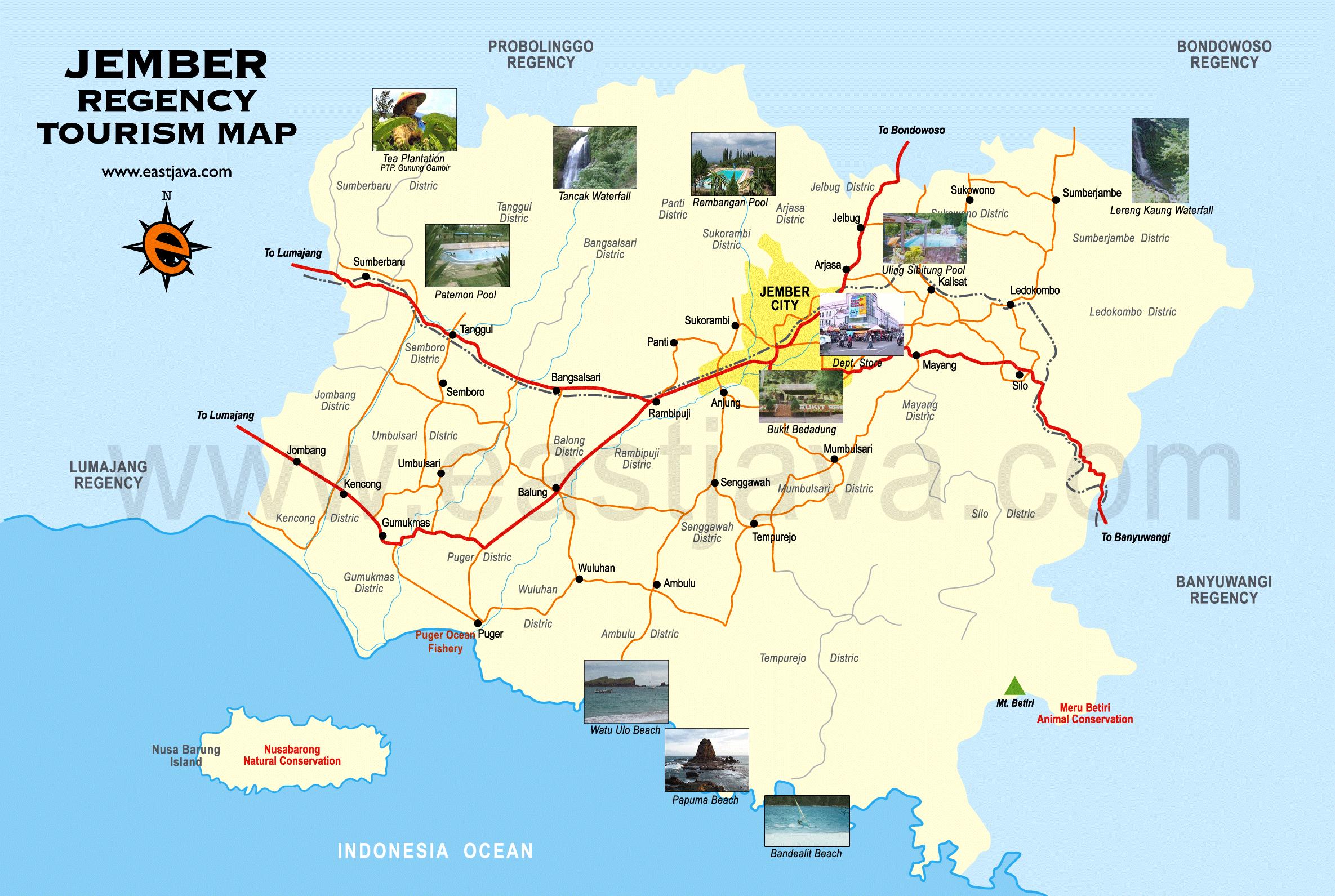 Jember Tourism Map Peta Wisata Google Loko Lori Kab