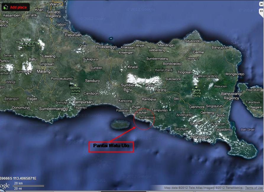 Map Pantai Watu Ulo Jember Jawa Timur Kab