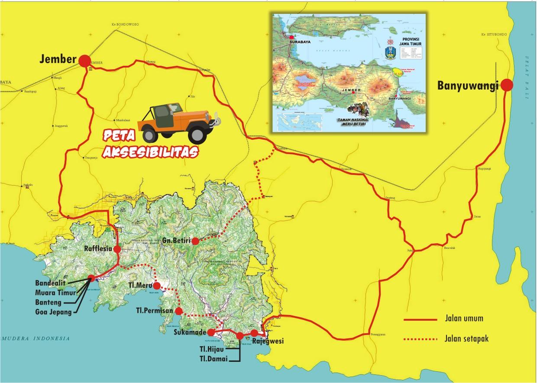 Peta Lengkap Indonesia Jalan Taman Nasional Meru Betiri Jawa Timur