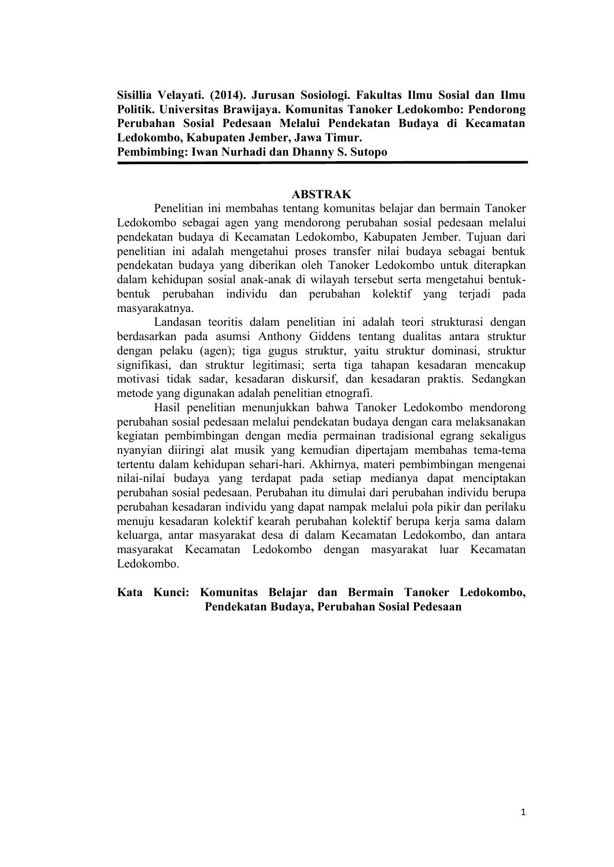 Pdf File Jurnal Mahasiswa Sosiologi Tanoker Ledokombo Kab Jember