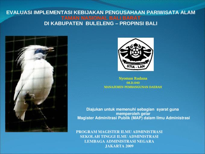 Evaluasi Implementasi Kebijakan Pengusahaan Pariwisata Alam Ppa Taman Nasional Bali