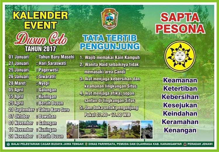 Kalender Event Dusun Ceto 2017 Candi Karanganyar Kab