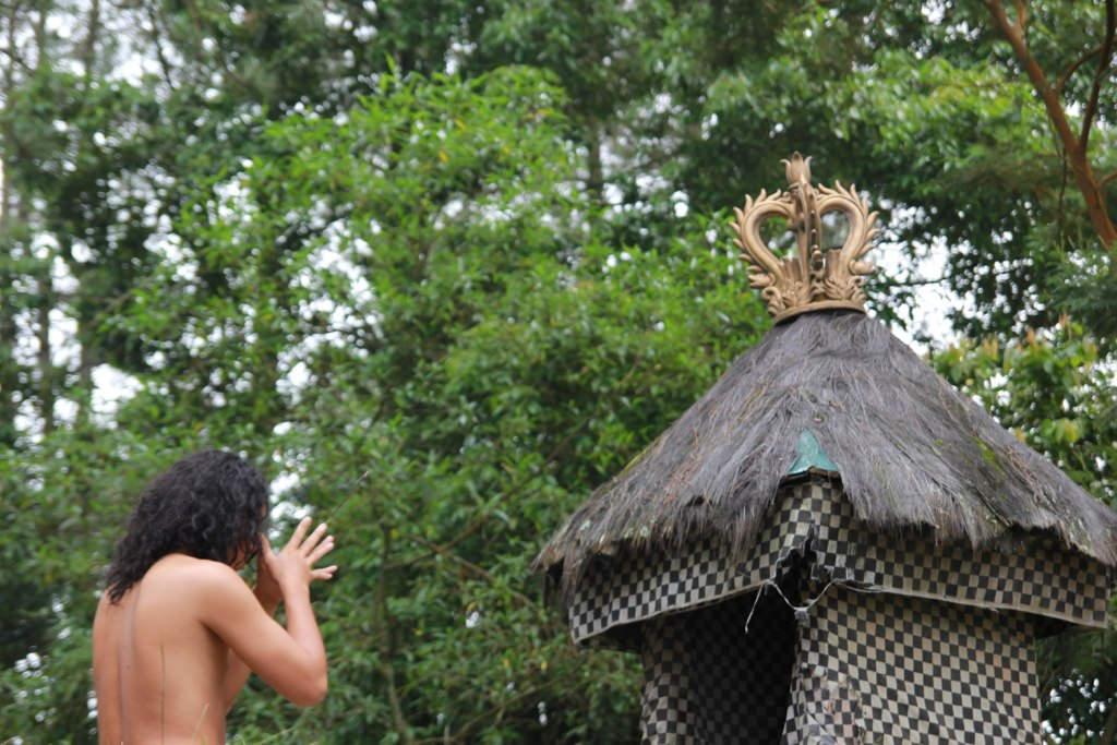 Karanganyar Cetho Temple Kethek Sukuh Tale Krisna Praying Central Java
