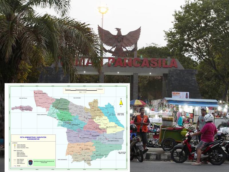Letak Kabupaten Karanganyar Terlengkap Intanpari Gambar Peta Foto Taman Pancasila