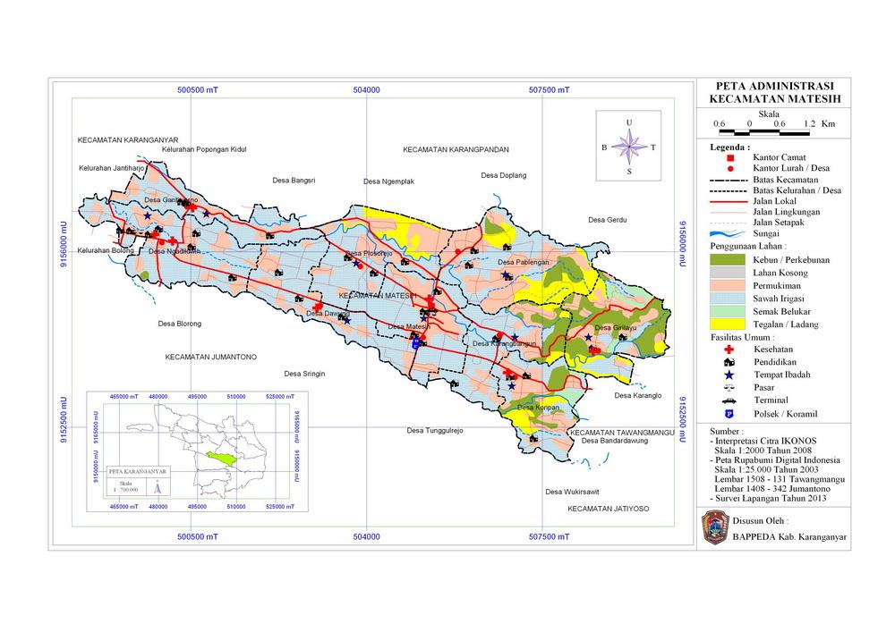 Kecamatan Matesih Peta Wilayah Administrasi Watu Kandang Kab Karanganyar
