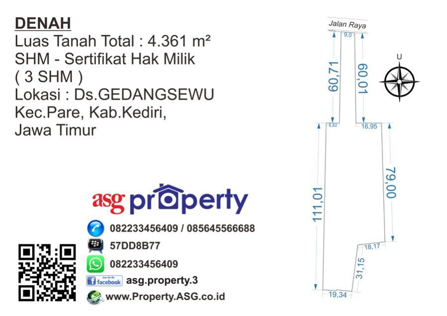 Dijual 4361m2 Pare Kabupaten Kediri Tanah Alun Kab